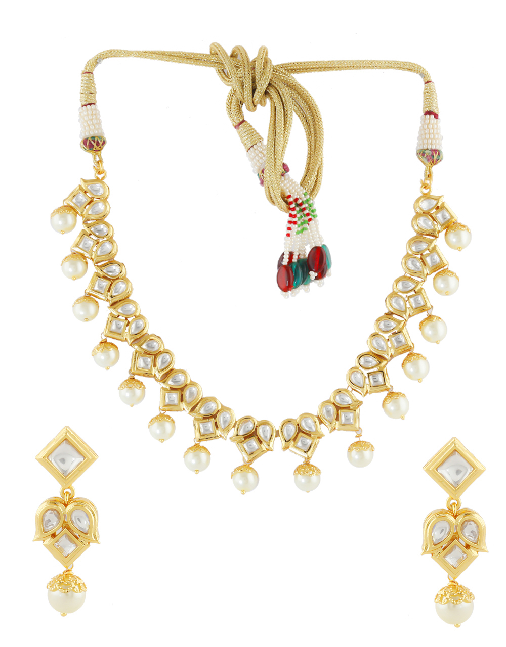 Gold Finish Kundan Necklace Styled With Pearls Beads Necklace