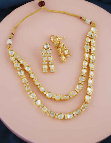 Adorable Gold Finish Necklace Studded With Diamond Kundan Necklace