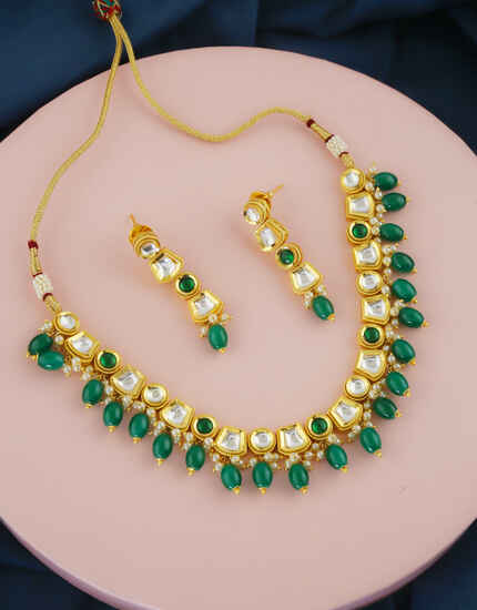 Green Colour Gold Finish Necklace Styled With Beads Jewellery