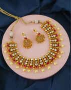 Pink Colour Gold Finish Kundan Wedding Necklace For Girls