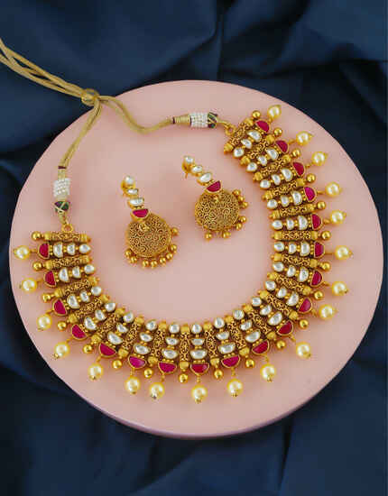 Pink Colour Gold Finish Kundan Wedding Necklace For Girls