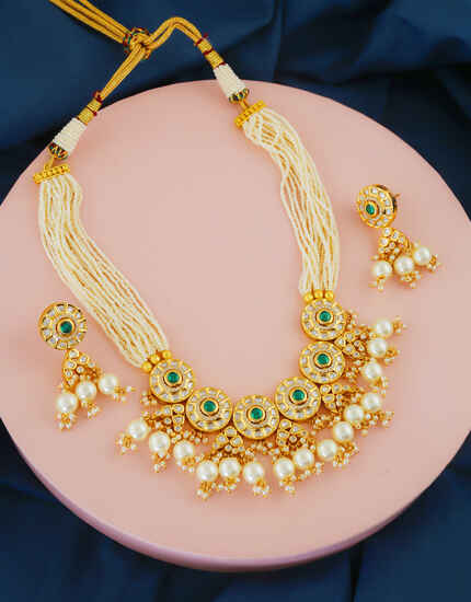 Green Colour Gold Finish Pearls Kundan Necklace For Women
