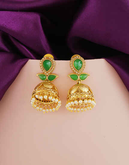 Delicate Green Colour Traditional Earrings By Anuradha Arts
