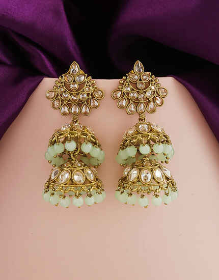 Adorable Pale Green Colour Traditional Earring From Anuradha Art Jewellery