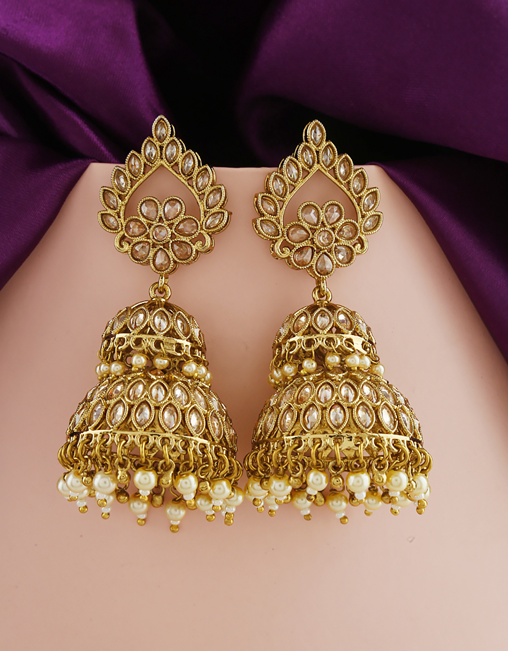 Unique Collection Of Golden Colour Traditional Earrings By Anuradha Arts