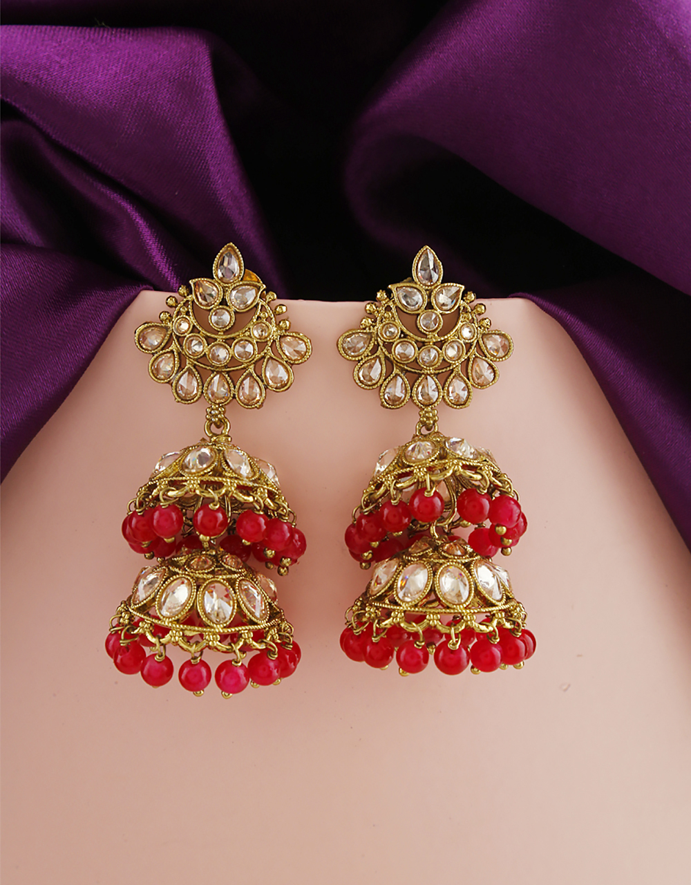 Red Colour Styled With Pearl Beads Traditional Earrings From Anuradha Art Jewellery