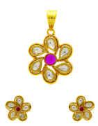 Beautiful Pink Colour Kundan Pendant Set From Anuradha Art Jewellery