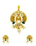 Adorable Gold Finish Kundan Pendant Set by Anuradha Arts