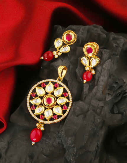 Red Colour Fancy Kundan Pendant Set By Anuradha Art Jewellery