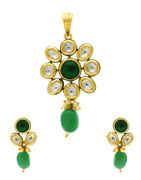 Very Classy Green Colour Kundan Pendant Set by Anuradha Art Jewellery