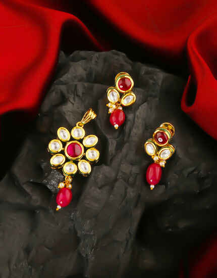 Fancy Pink Colour Kundan Pendant Set From Anuradha Art Jewellery