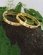 Anuradha Art Jewellery Golden Finish American Diamond Bangles