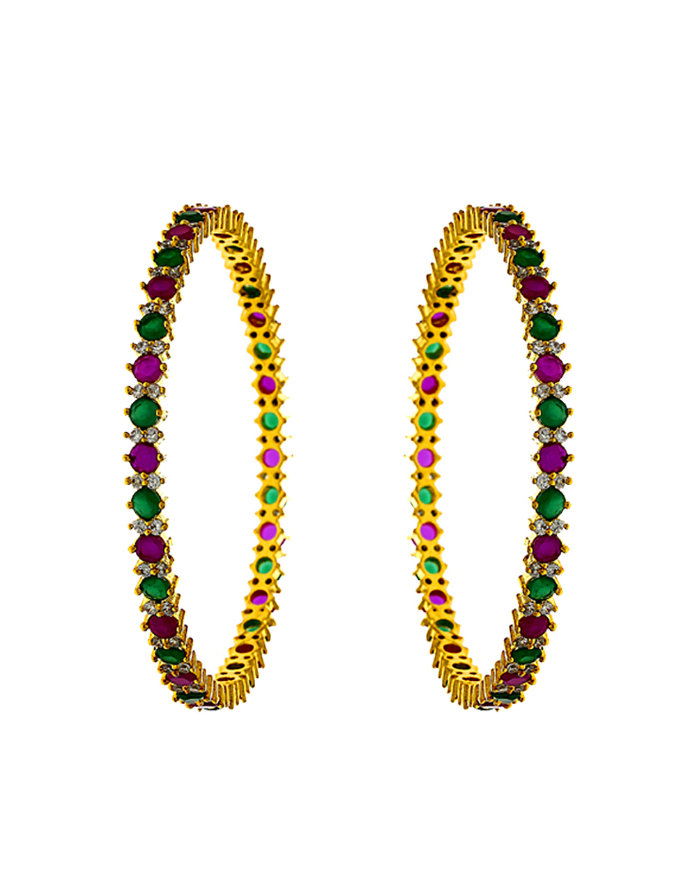Anuradha Art Jewellery Multi Colour Fancy American Diamond Bangles.