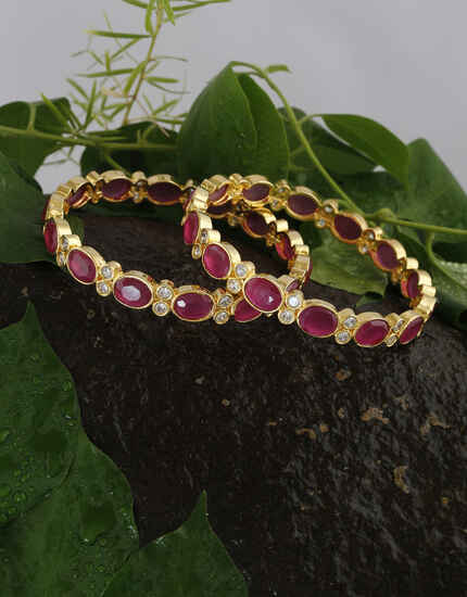 Anuradha Art Jewellery Splendid American Diamond Bangles Jewellery