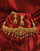 Temple Designed Golden Finish Fancy Traditional Necklace.