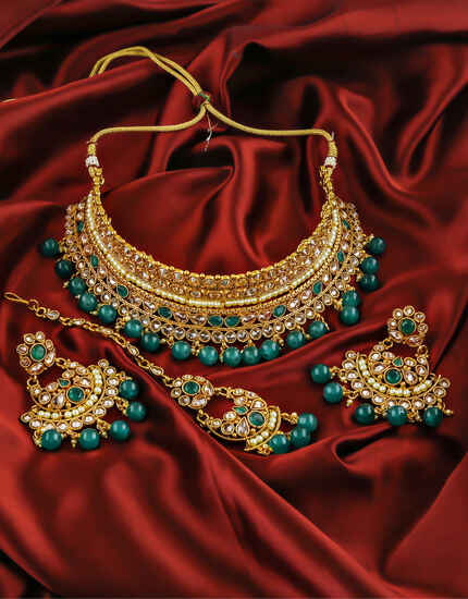 Gorgeous Moss Green Colour Traditional Necklace Set for Women.