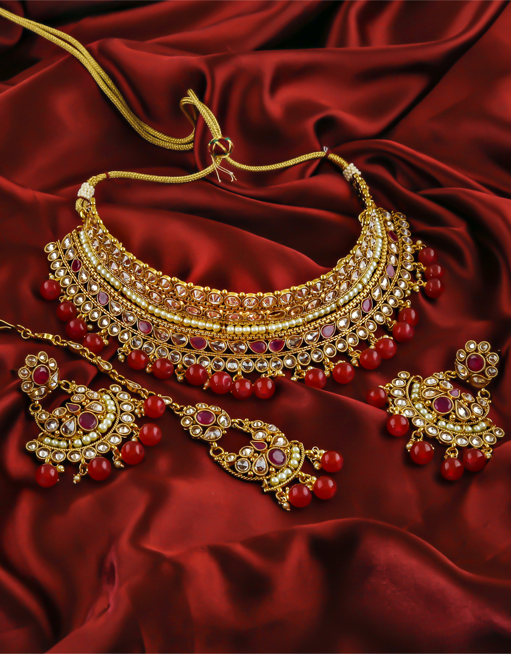 Red Colour Golden Finish Traditional Necklace for Wedding.
