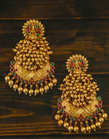 Fancy Matte Golden Finish Traditional Earrings
