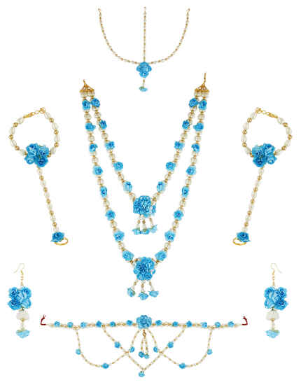 Bright Blue Colour Artificial Flower Jewellery For Women
