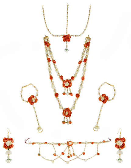 Orange Colour Floral Design  Jewellery For Women