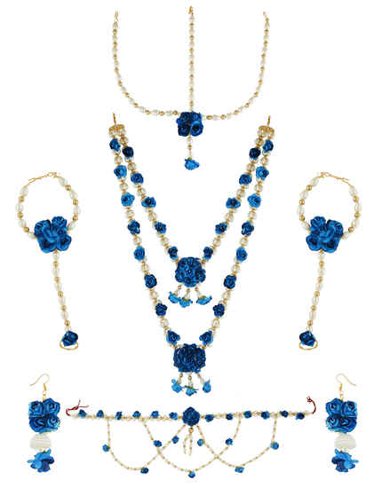 Anuradha Arts Royal Blue Colour Floral Jewellery for Haldi/Mehendi