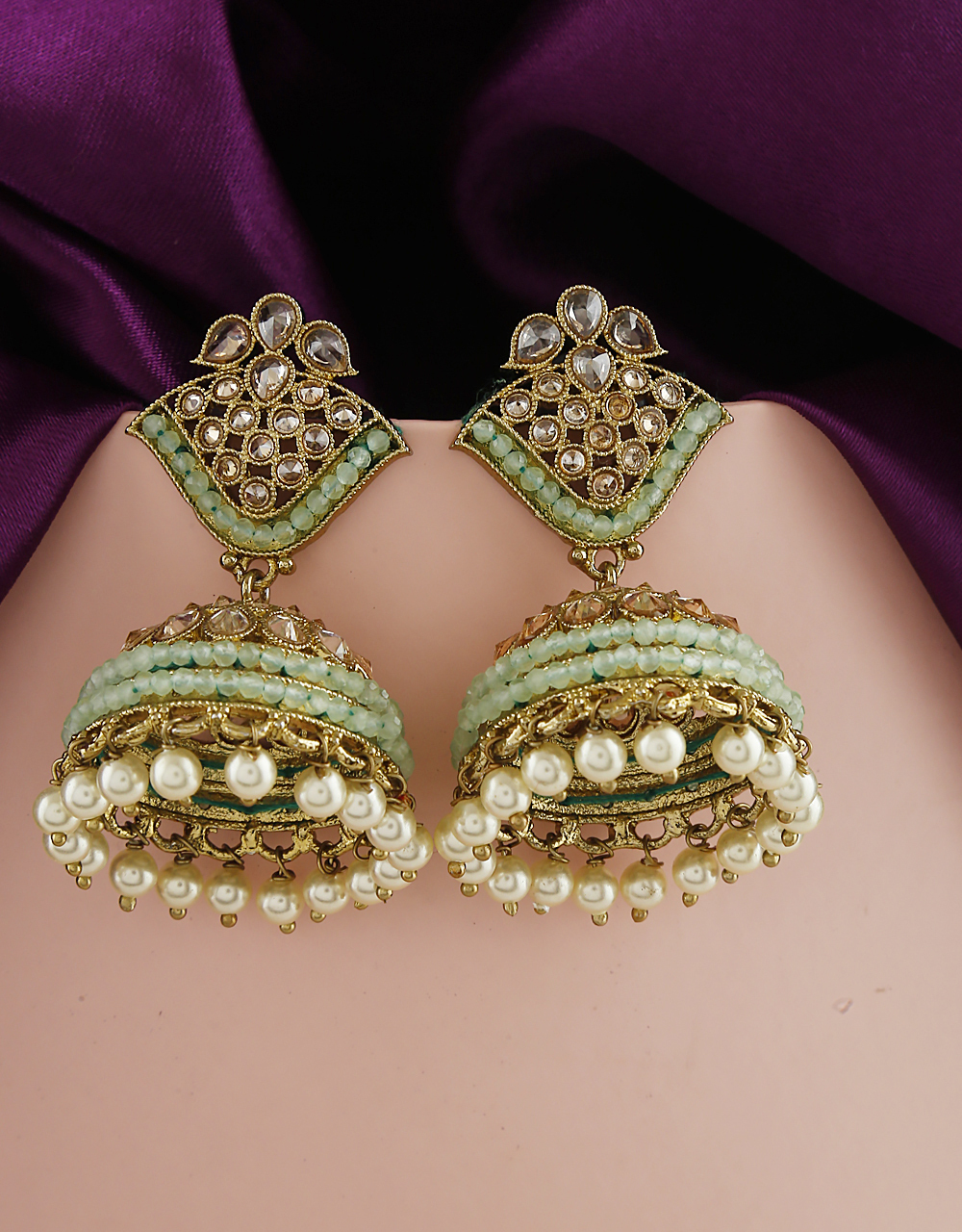 Pale Green Colour Amazing Traditional Earrings