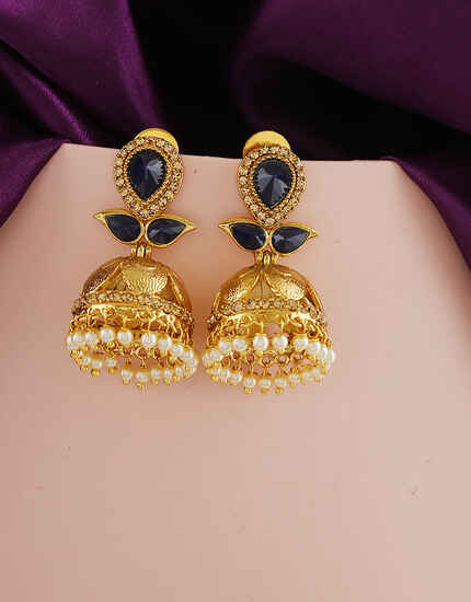 Blue Colour Golden Traditional Earrings For Women Online