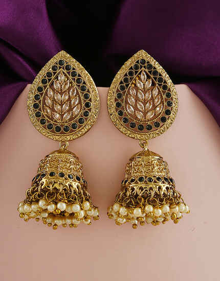 Black Colour Designer Traditional Earrings For Women