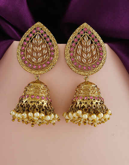 Purple Colour Fancy Traditional Earrings Online