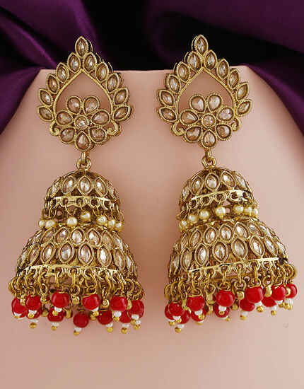 Fashionable Red Colour Traditional Earrings For Women