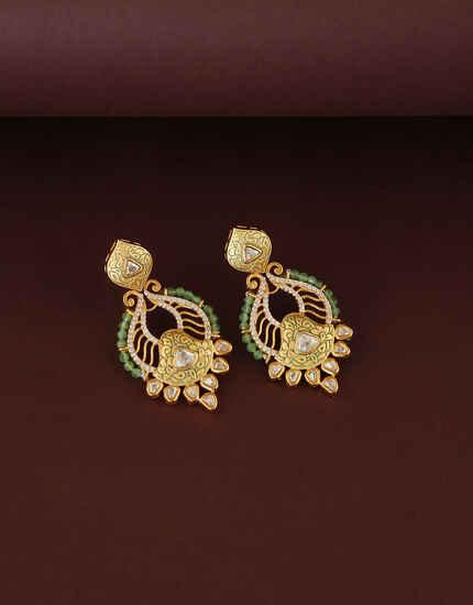 Green Colour Traditional Kundan Earring For Women