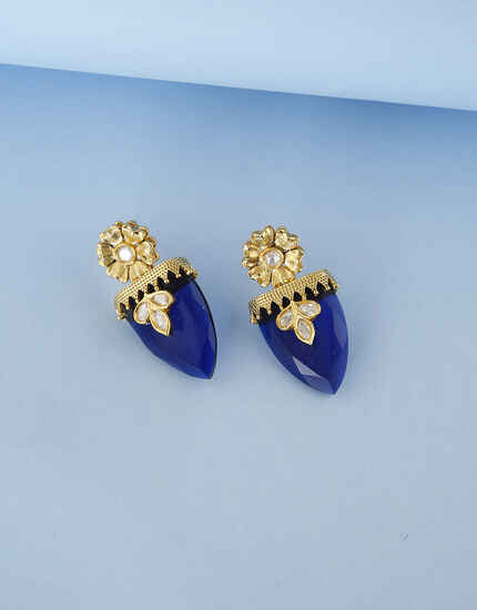 Floral Design Blue Stone Kundan Traditional Earring For Women.