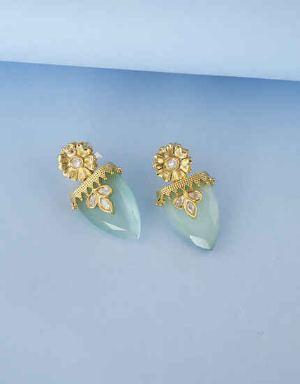 Sky Blue Colour Floral Design Kundan Studded Traditional Earring For Women