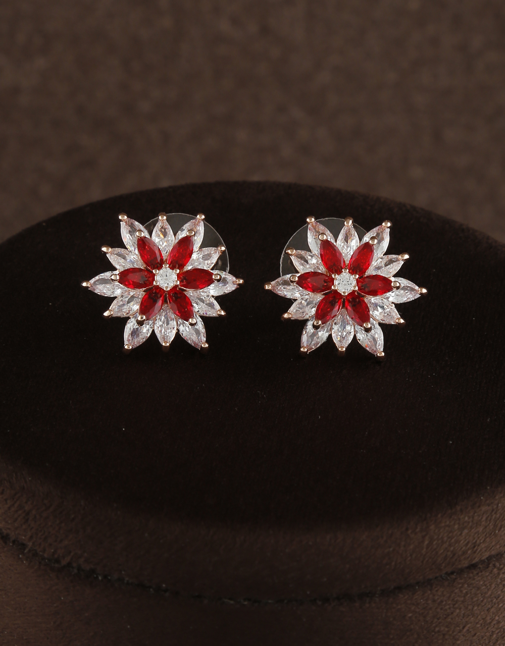 Red Stone Floral Design Decked With American Diamond For Women