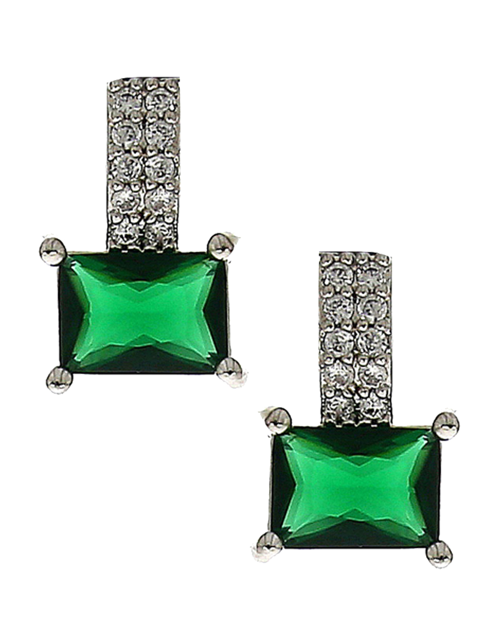 Green Stone Decked With American Diamond Ear Studs For Women