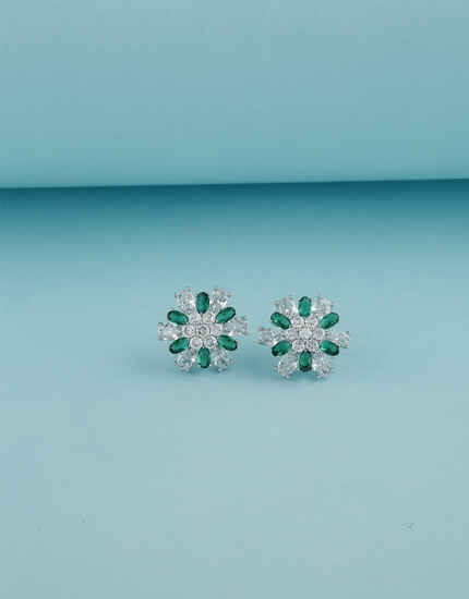 Floral Design Green Stone American Diamond Studded Tops For Women