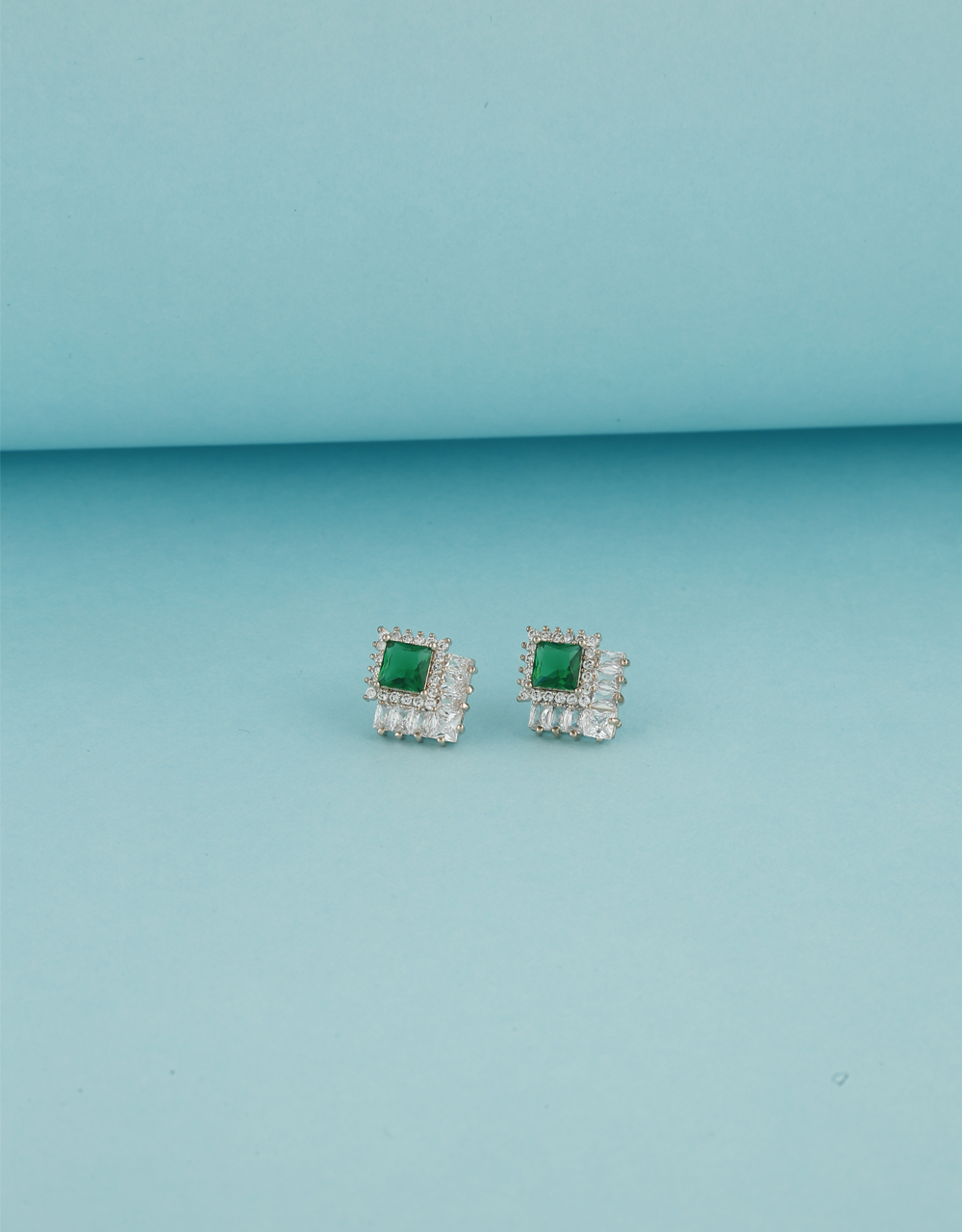 Art Green Stone Studded With American Diamond Tops For Women