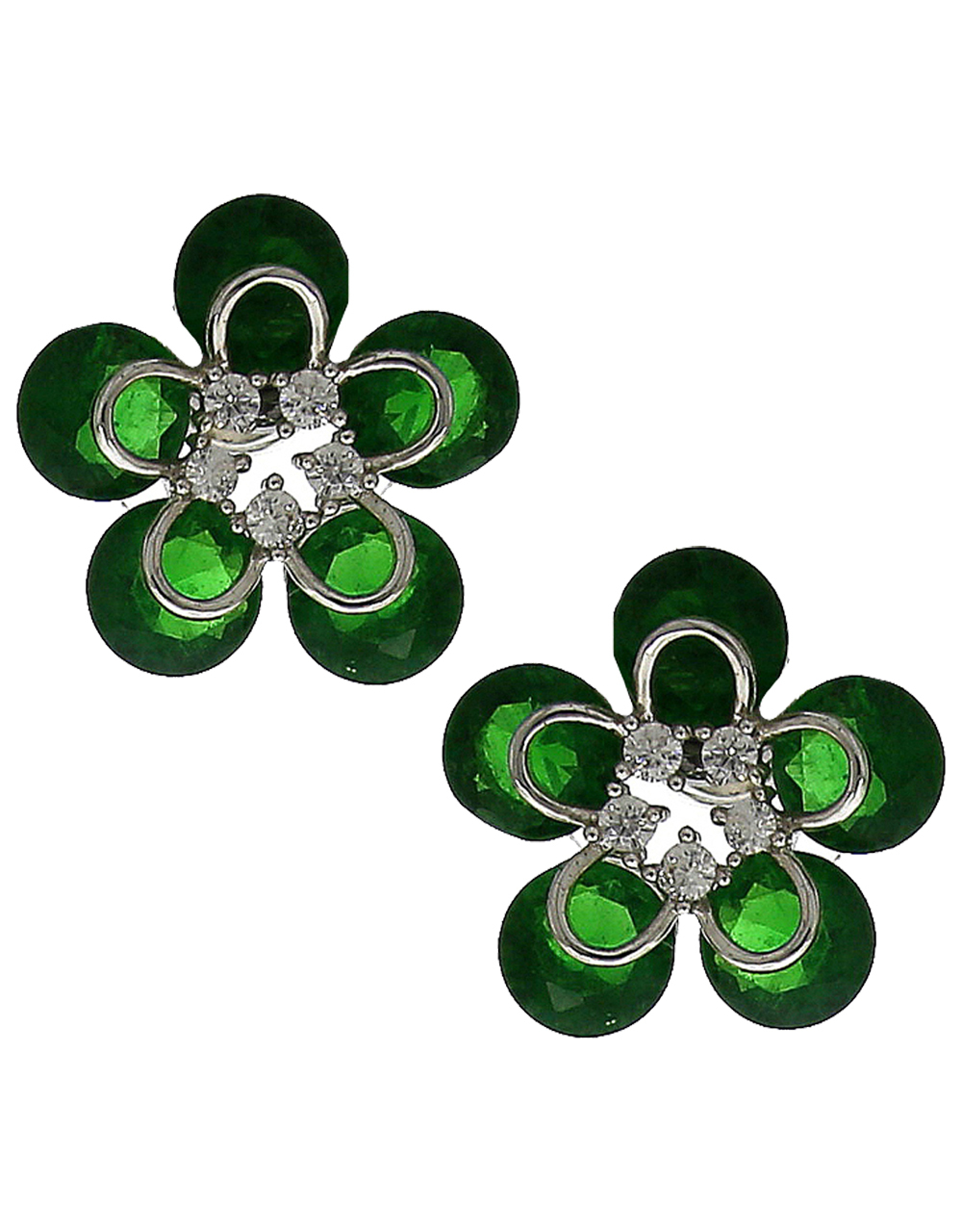 Green Colour Floral Design Diamond Studded Tops For Women