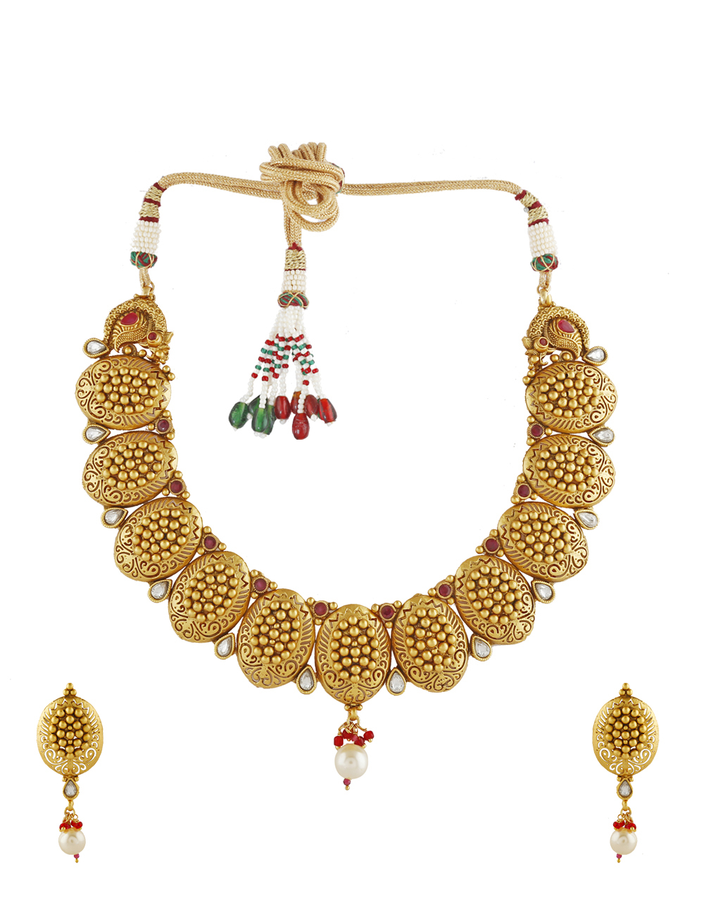 Ethnic Design Red Stone Studded Necklace For Women