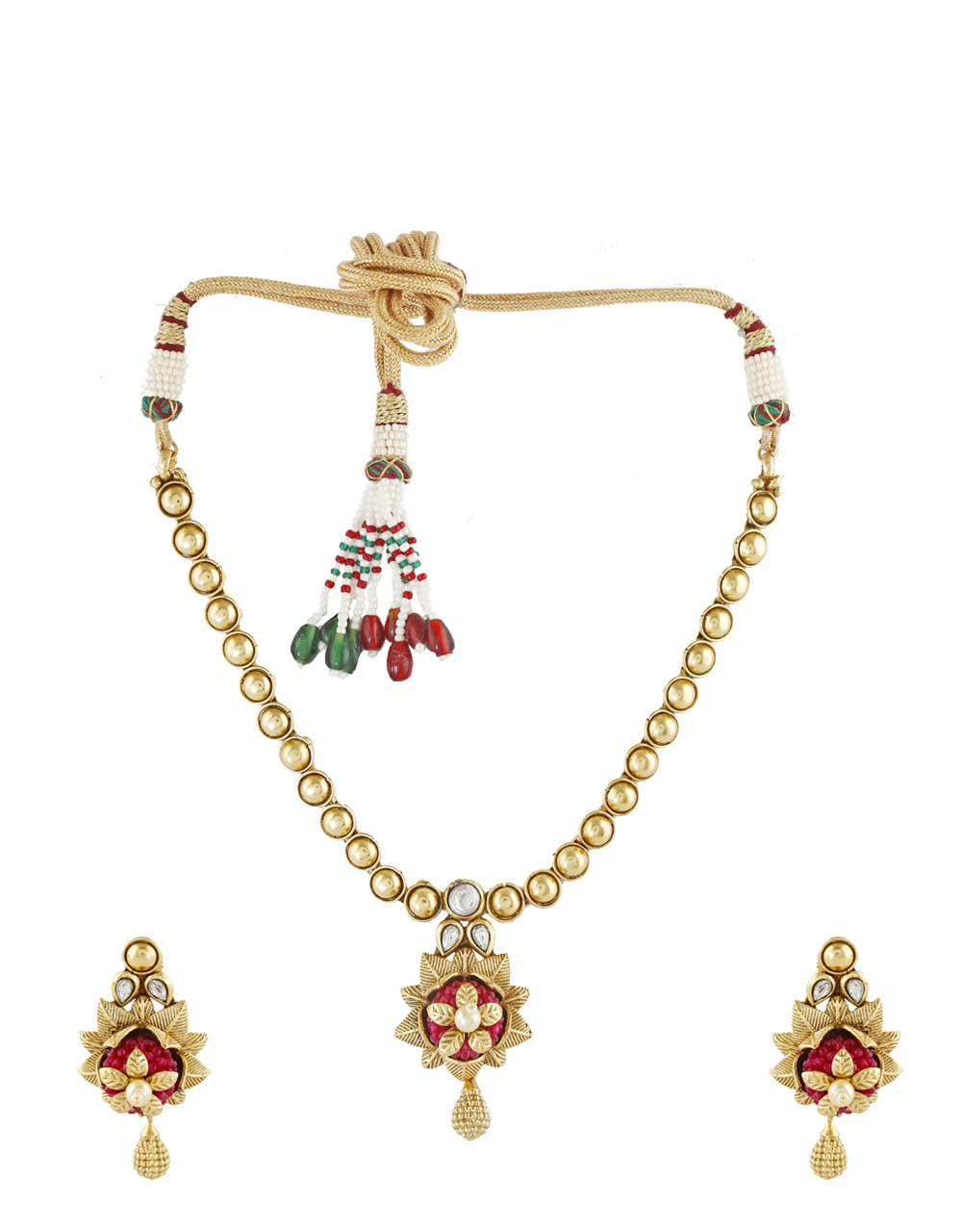 Floral Design Pink Colour Stone Work  Necklace For Women