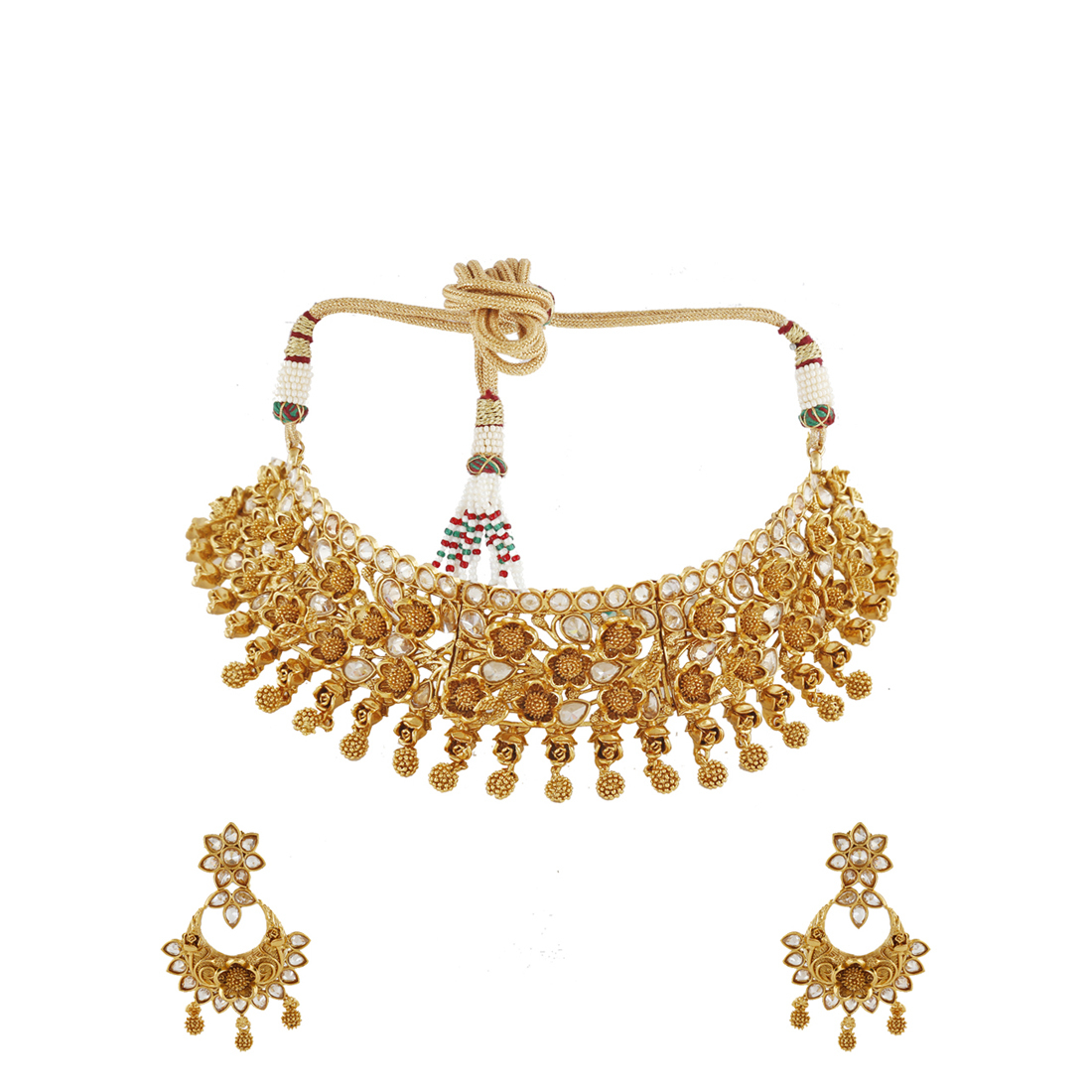 Ethnic Design With Rose Gold Finish Necklace With Pair Earring For Women