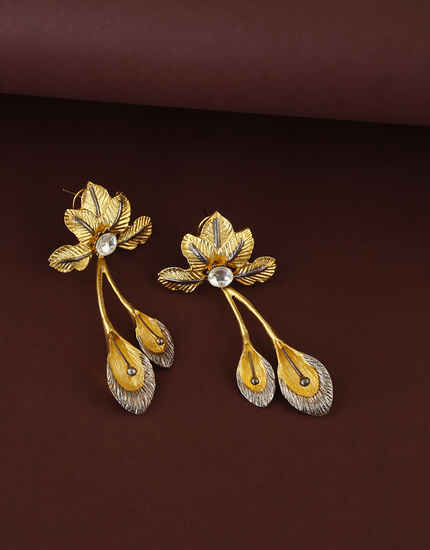Adorable Floral Designed Golden Finish Traditional Earrings For Women