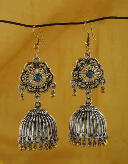 Exclusive Golden And Silver Finish Oxidized Earrings Online.
