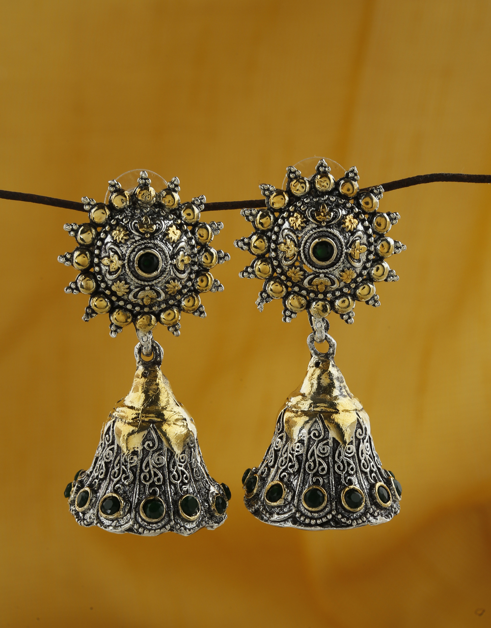 Green Colour Unique Silver and Golden Finish Oxidized Earrings for Women.