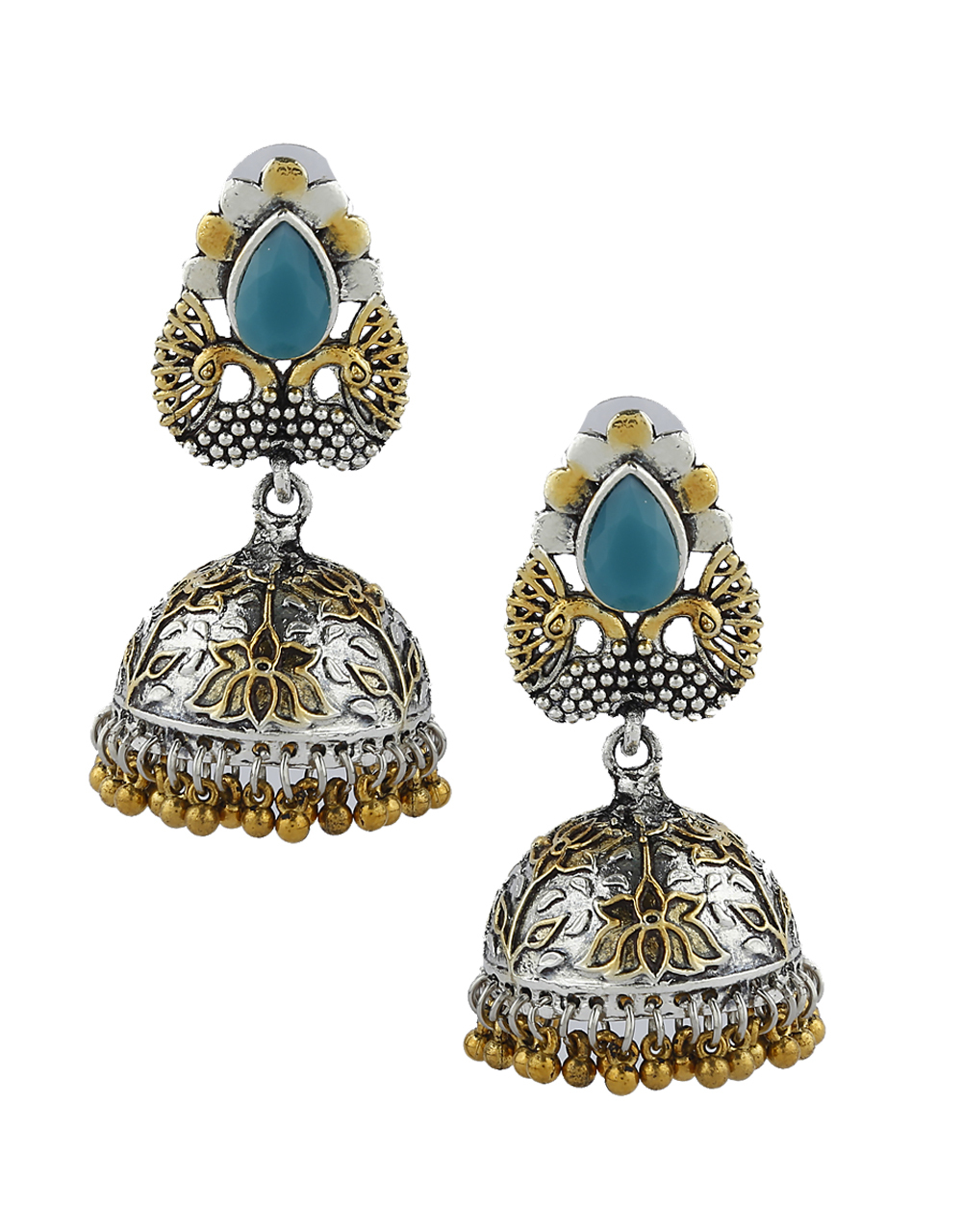 Simple Blue Colour Silver and Golden Finish Oxidized Earrings Online.