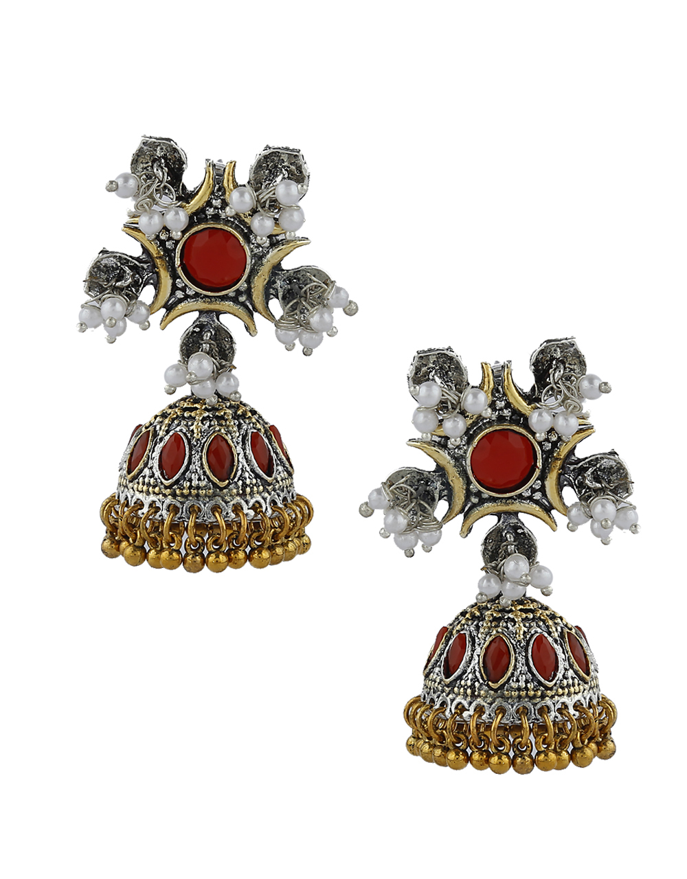 Red Colour Silver and Golden Finish Oxidized Earrings Online.
