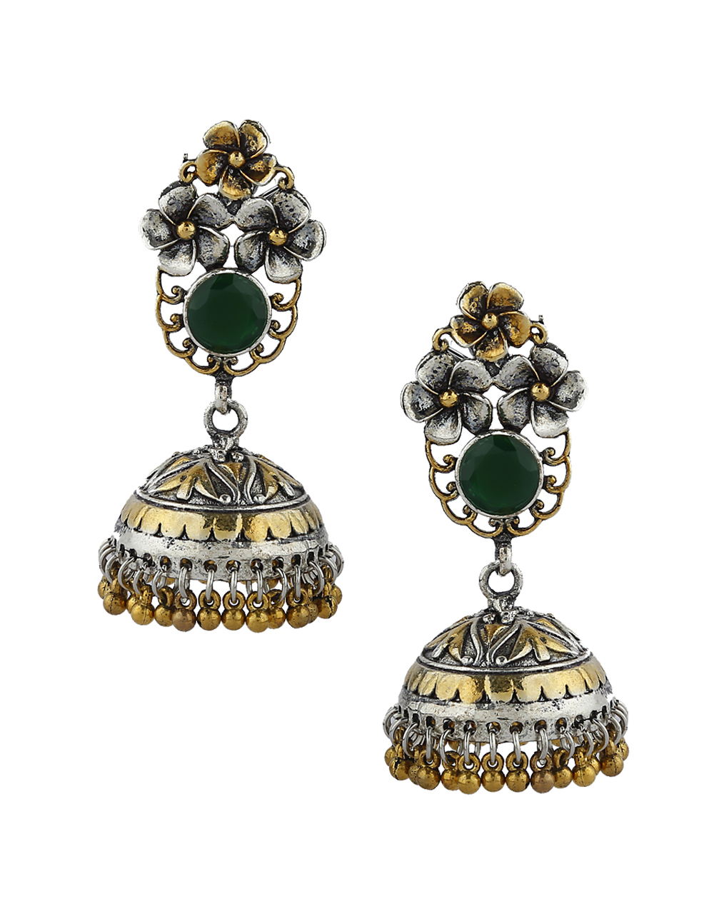 Floral Designed Green Colour Silver Finish Oxidized Earrings.