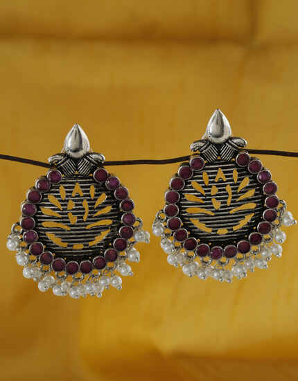 Lavish Rani Colour Silver Finish Oxidized Earrings Online.