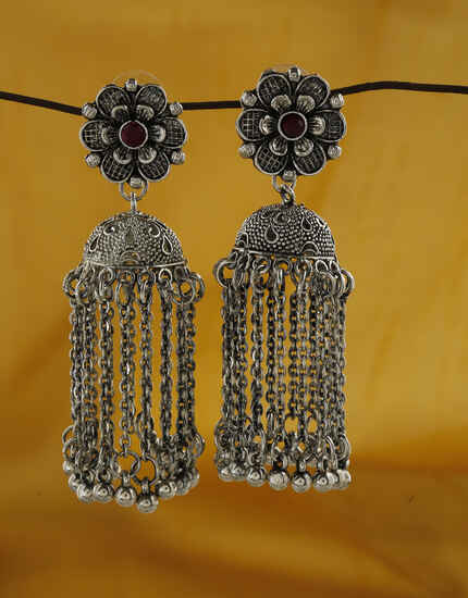 Floral Designed Violet Colour Silver Finish Oxidized Jhumka Earrings.