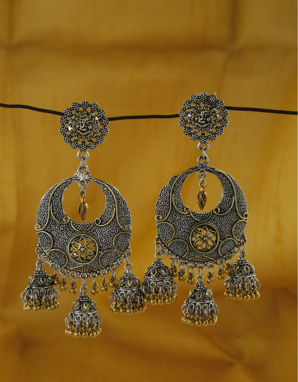 Lavish Golden And Silver Finish  Oxidized Earrings For Women.